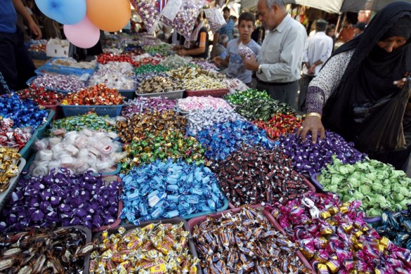 Muslims observe the conclusion of Eid al-Fitr with sweets. Now: Where da Reese's peanut butter cups at?  ReeseSource: GlobalPost.com