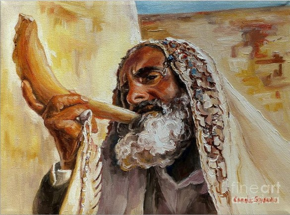"""Rabbi Blowing Shofar"" by Carole Spandau"