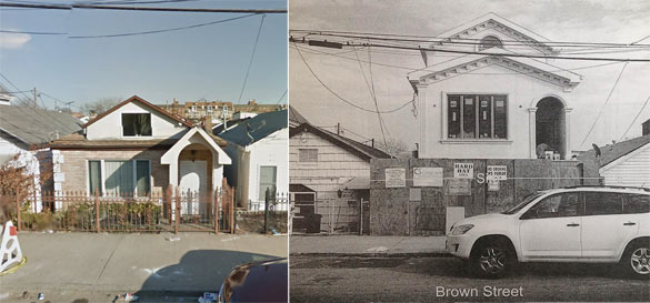 BEFORE AND AFTER: 2801 Brown before construction began (Source: Google maps; 2801 Brown in a recent photo (Source: Community Board 15)