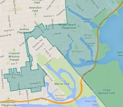 The Sheepshead Bay portion of Sampson's district, which connects to the remainder of his district via a one block stretch. (Click to enlarge)