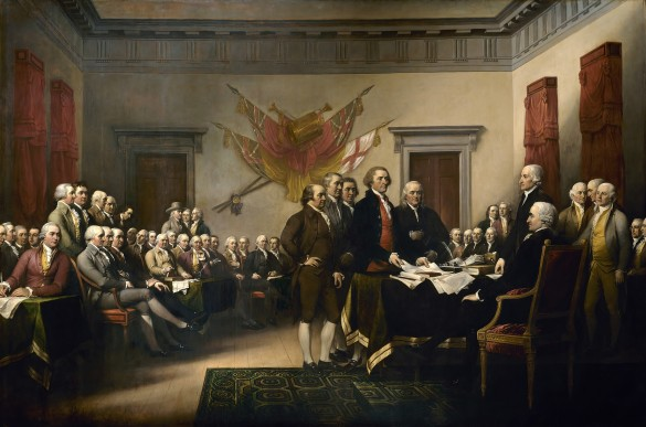 John Trumbull's famous painting showing the Declaration of Independence's drafting committee presenting its work to the Congress. Source: Wikipedia