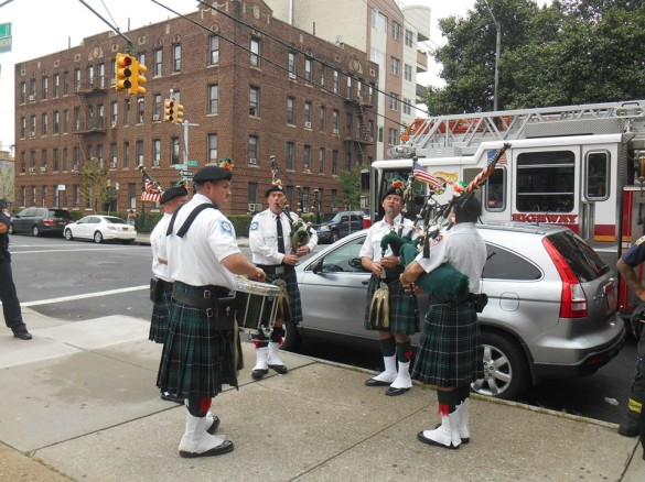FDNY's Emerald Society Pipes & Drums performed at the service  .(Photo by Mike T. Wright)