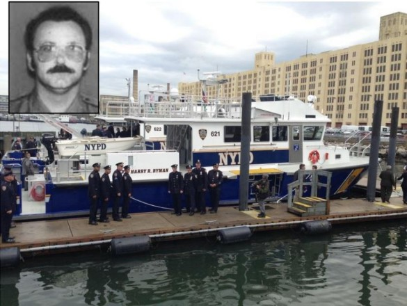 Family, friends and police brass pose with the new vessel named for Harry Ryman; inset: Ryman (Source: NYPD)