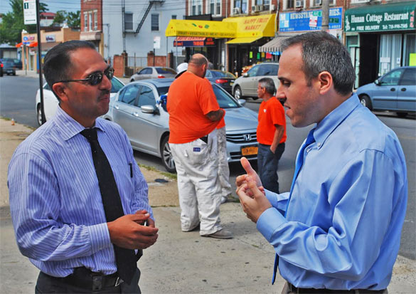 Treyger and 61st Precinct Commanding Officer Carlos Valdez at the scene. (Source: Conor Greene)