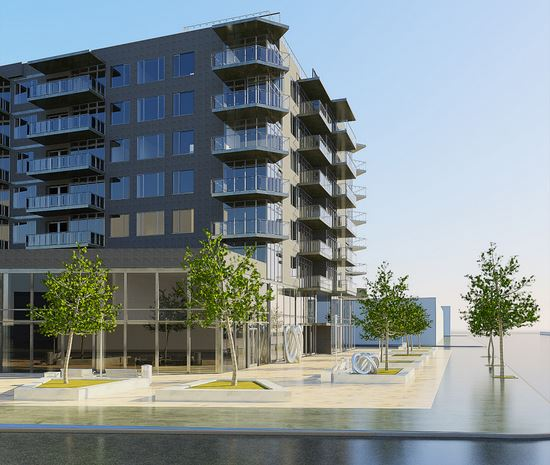 Preliminary rendering of 1801 Emmons Avenue. The view is from Emmons Avenue and Sheepshead Bay Road. (Source: Sergey Rybak)